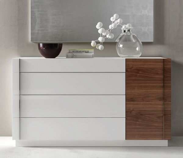 Modern White Dresser Walnut Accent Bedroom Furniture Minimalist