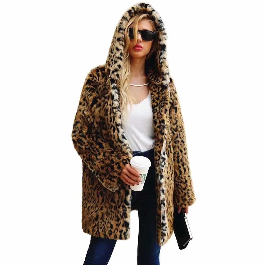ebc3ccf12e4f Noroomaknet Womens Hoodies Plus Size,Juniors Winter Coats Jackets,Leopard-print  Faux Fur Coat Warm Winter Jacket for Women(M-3XL)#Winter, #Juniors, #Jackets