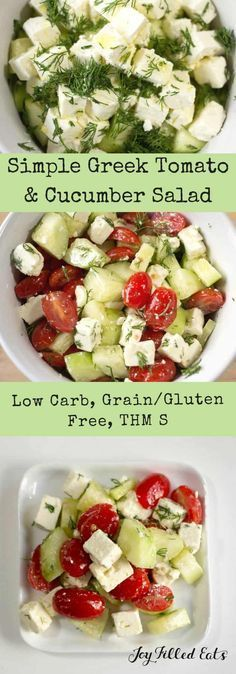 This Simple Greek Salad comes together in under five minutes. By using a few key flavors you can whip up a restaurant quality side in no time. Low Carb, Keto, Grain-Free, Gluten-Free, THM S. Perfect summer side dish!