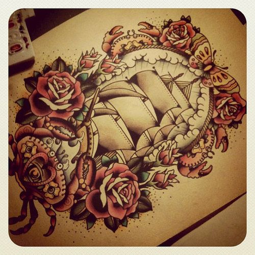Old school - Boat - Print  by Kimanh.....if I ever gain the balls to go for the ribs, this is it.