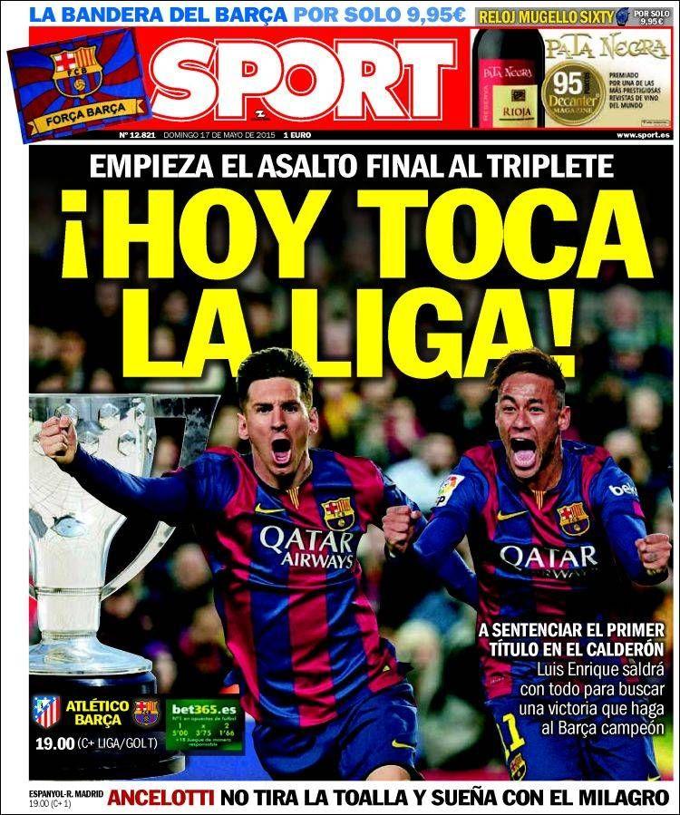 Portada Sport 17/05/2015 Barça hoy, Portadas prensa