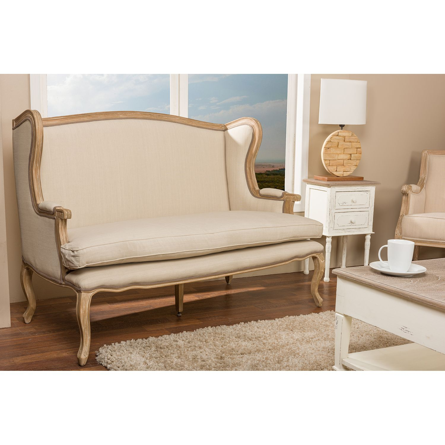 Beuvron Wood Cotton Traditional French Loveseat Ping Great Deals On Baxton Studio Sofas Loveseats