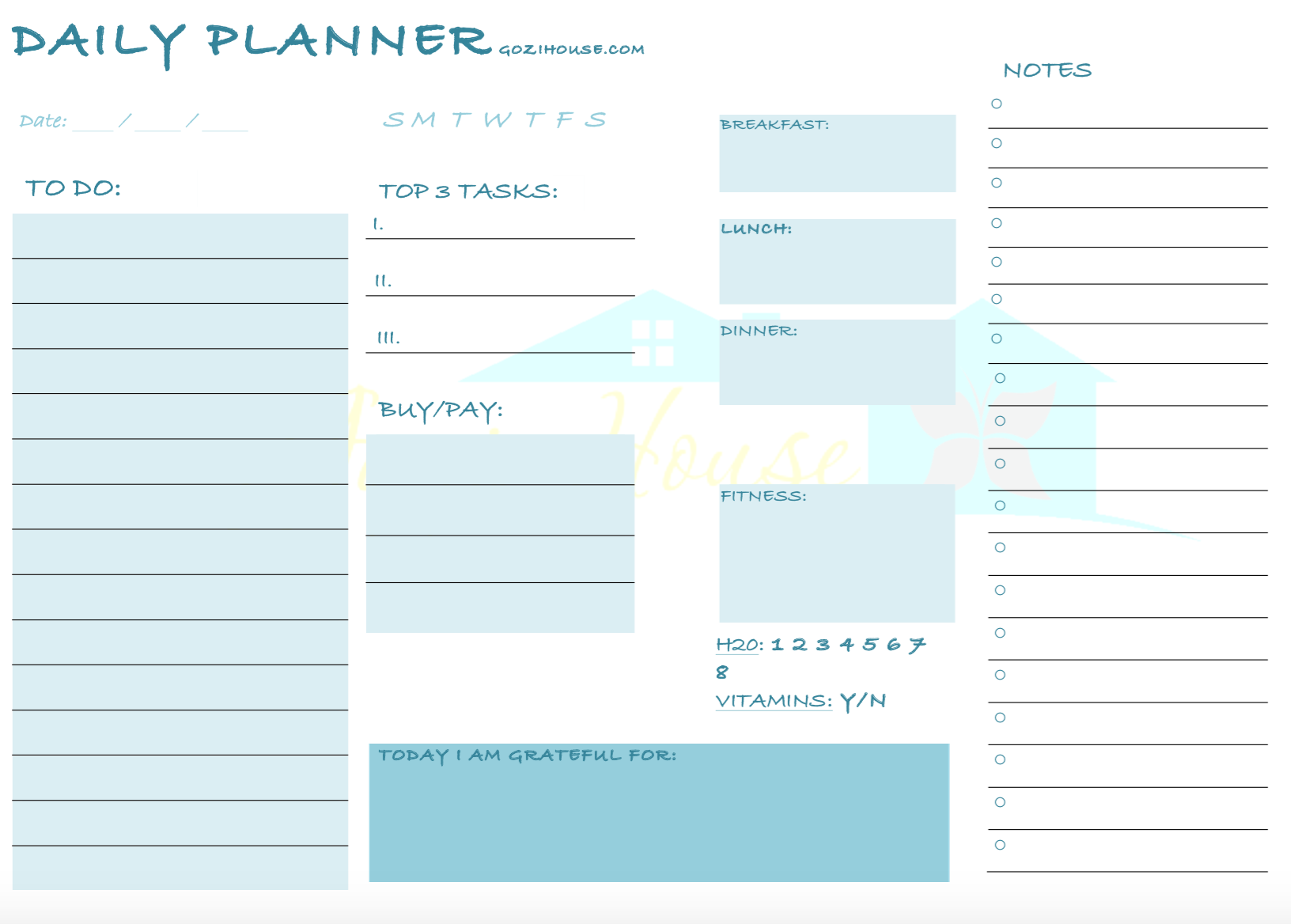 14 Hour Daily Planner