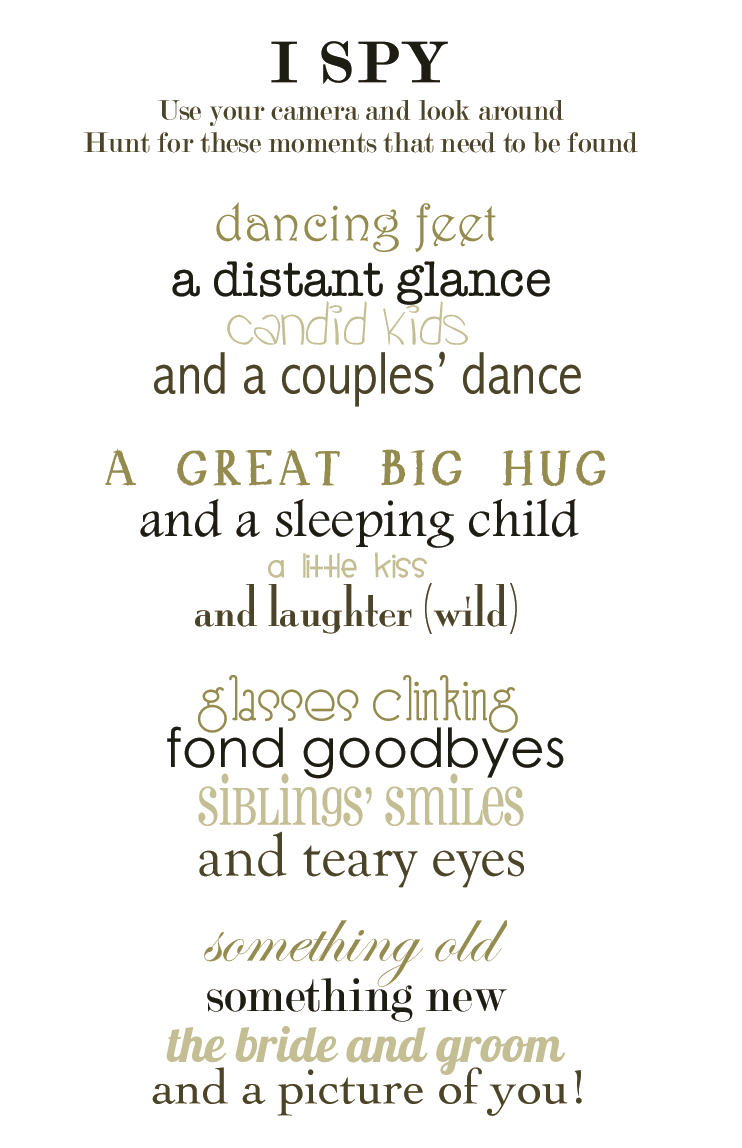 Just Sharing This I Spy Poem I Wrote For My Wedding Some Help