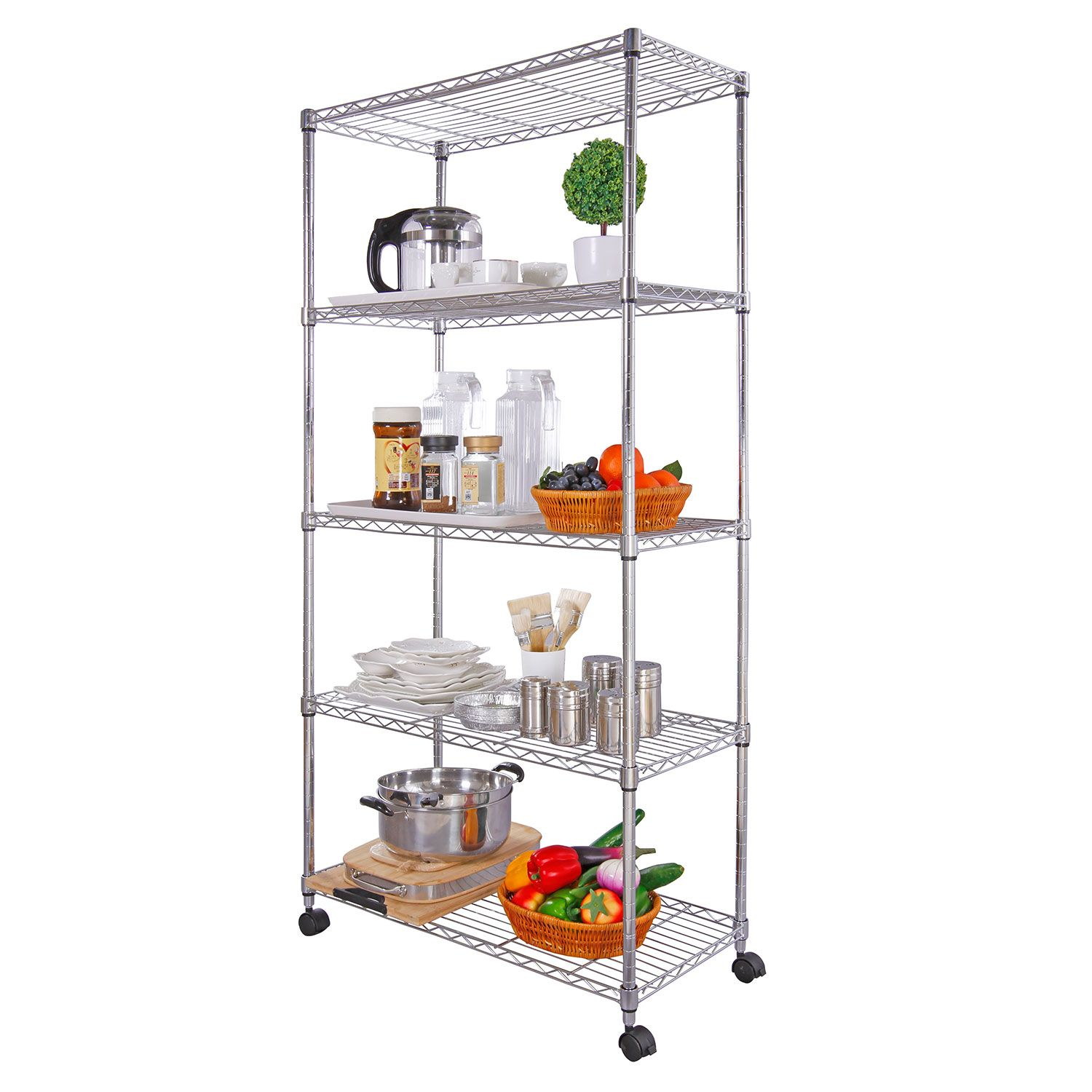Lifewit 5 Tier Wire Shelving Unit Wheels Steel Storage Rack Shelves ...