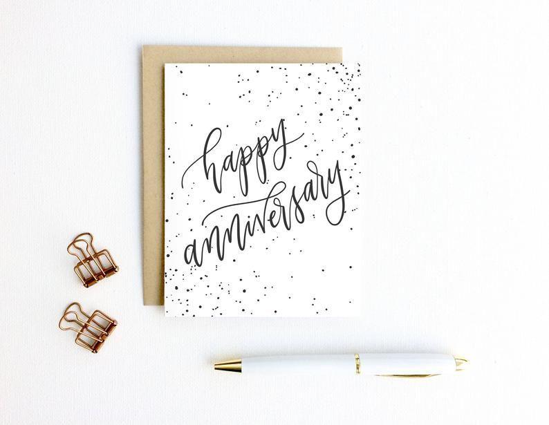 Anniversary card happy anniversary with splatter dots
