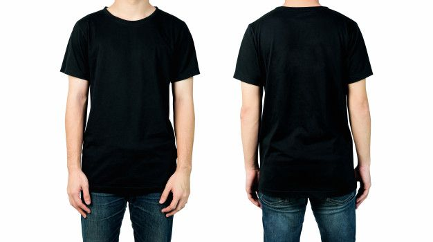Download Man In Blank Black T Shirt Front And Back Views Of Mock Up For Design Print Black Tshirt Plain Black T Shirt T Shirt Design Template