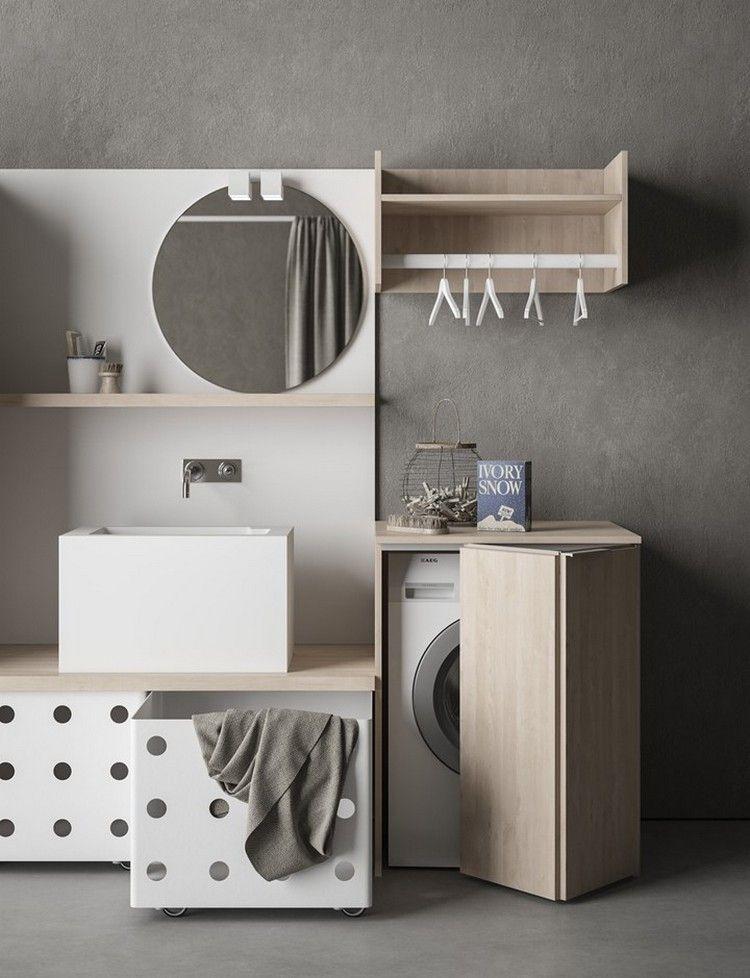 Hauswirtschaftsraum Mit Kleiderständer über Der Waschmaschine