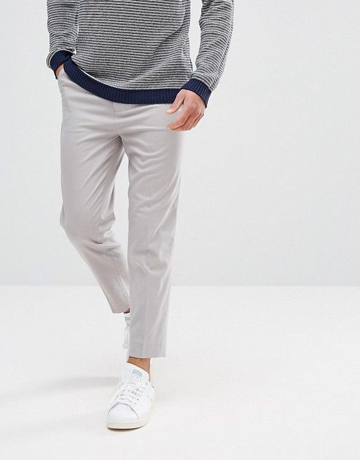 Tapered Smart Trousers In Ice Grey With Charcoal Side Stipe - Ice grey Asos TwOUBr