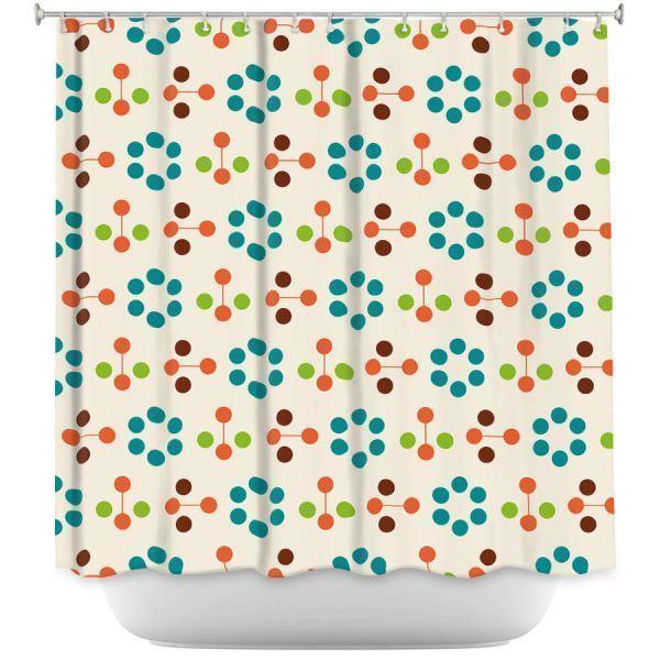 Cortinas de ducha decorativas  Nika Martinez  Turquesa de flores de mediados de siglo Cortinas cortinas de mediados de siglo curtains Mid Century
