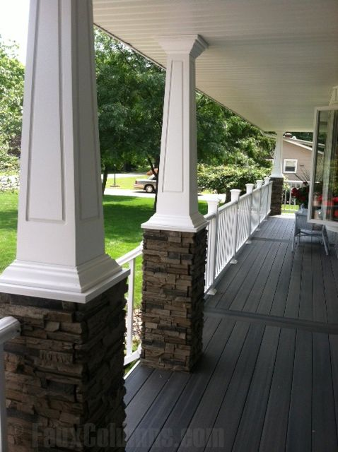 Faux Stone Column Wraps Add Visual Interest To Entranceways