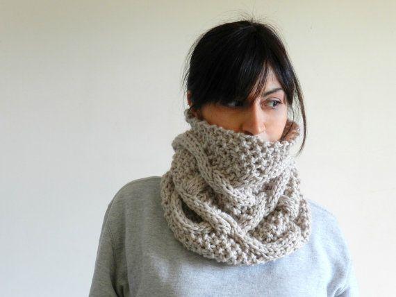 Knit chunky cowl scarf beige wool and alpaca - northern seas ...