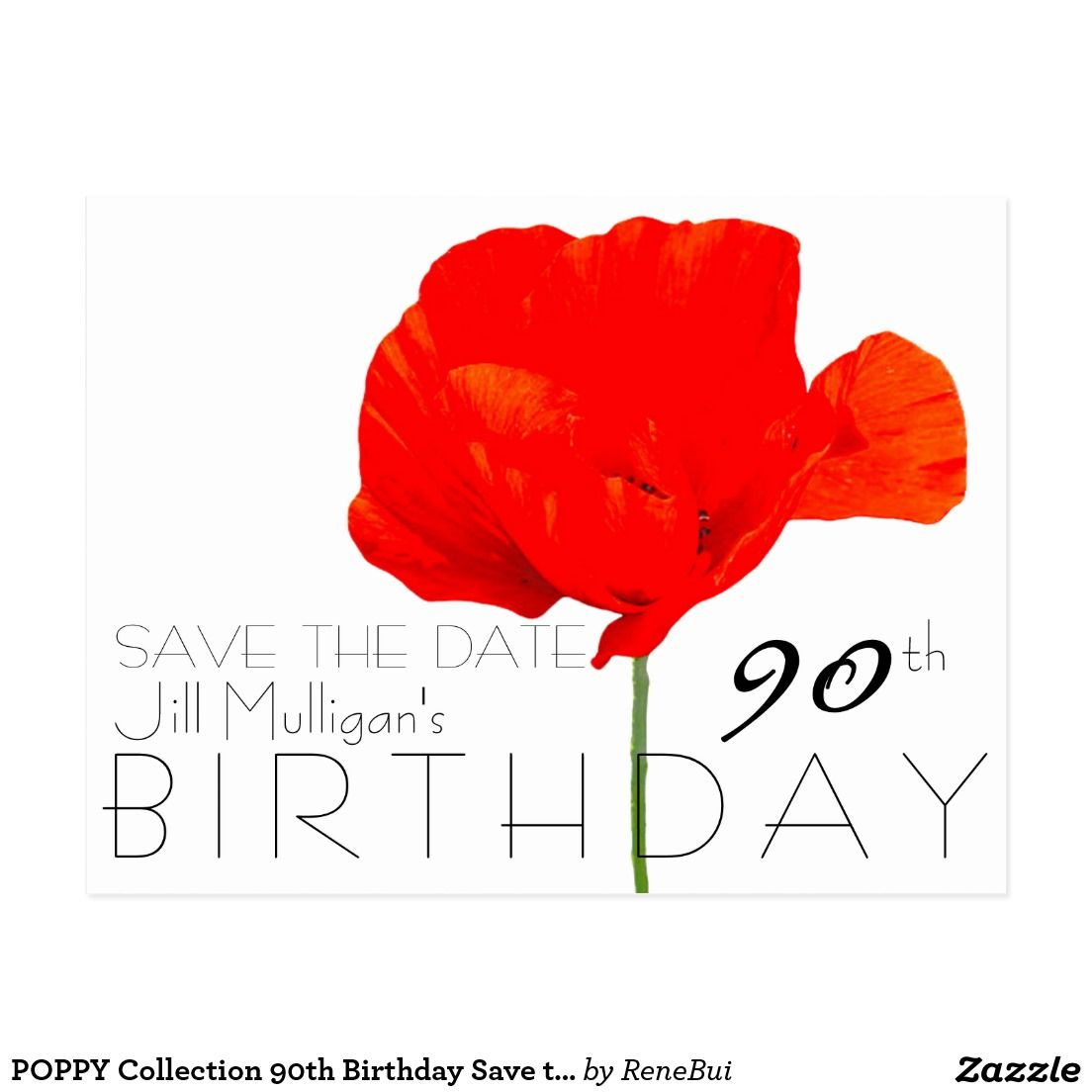 POPPY Collection 90th Birthday Save the Date | Wedding Save The Date ...
