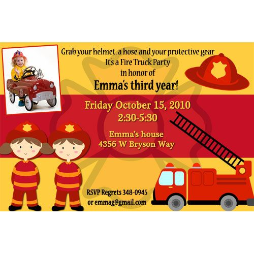 Free Fire Truck Birthday Invitations Ideas Download this - birthday invitation card template free download