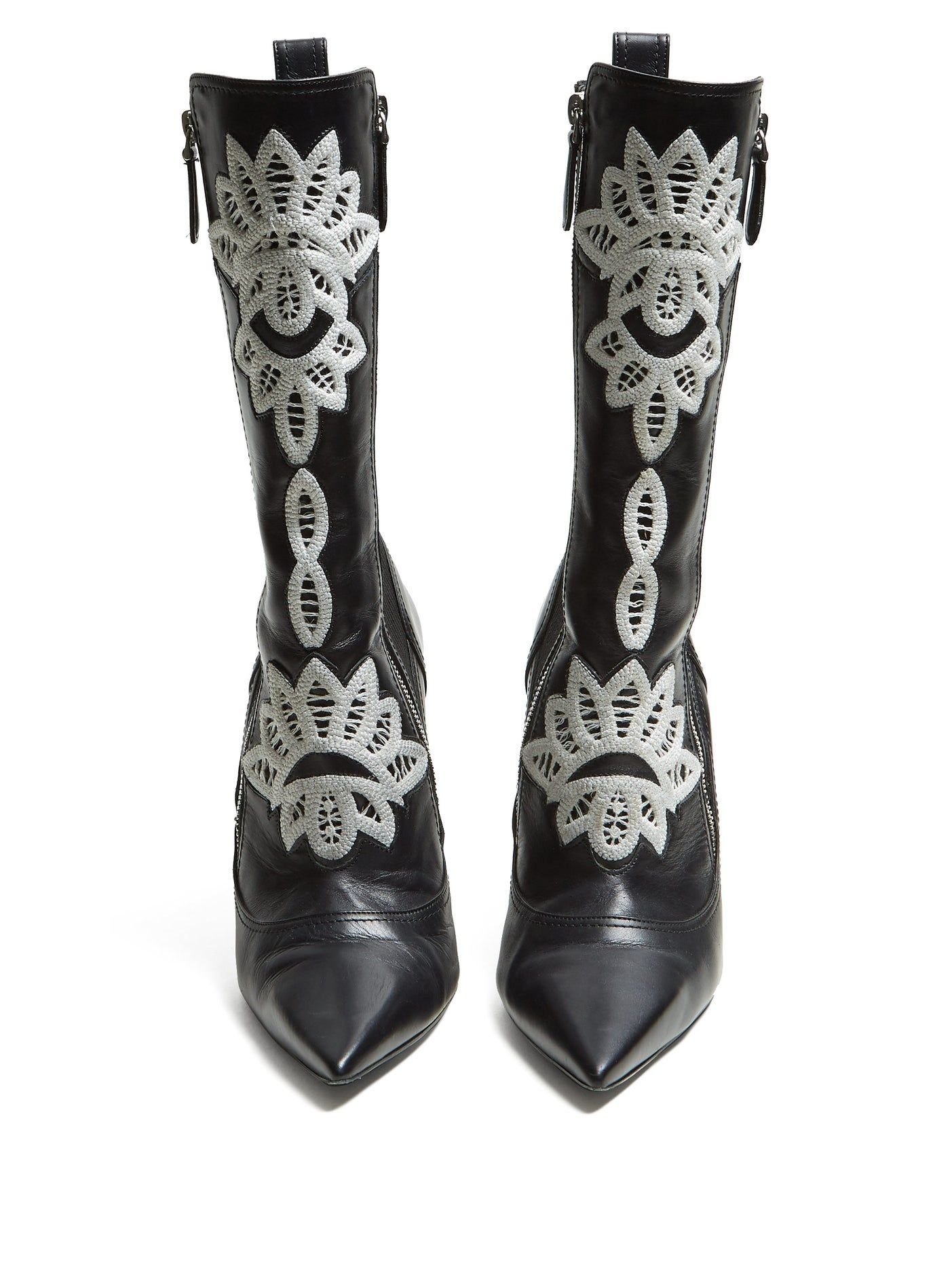 Lyst - Alexander Mcqueen Leather Embroidered Velvet Laceup