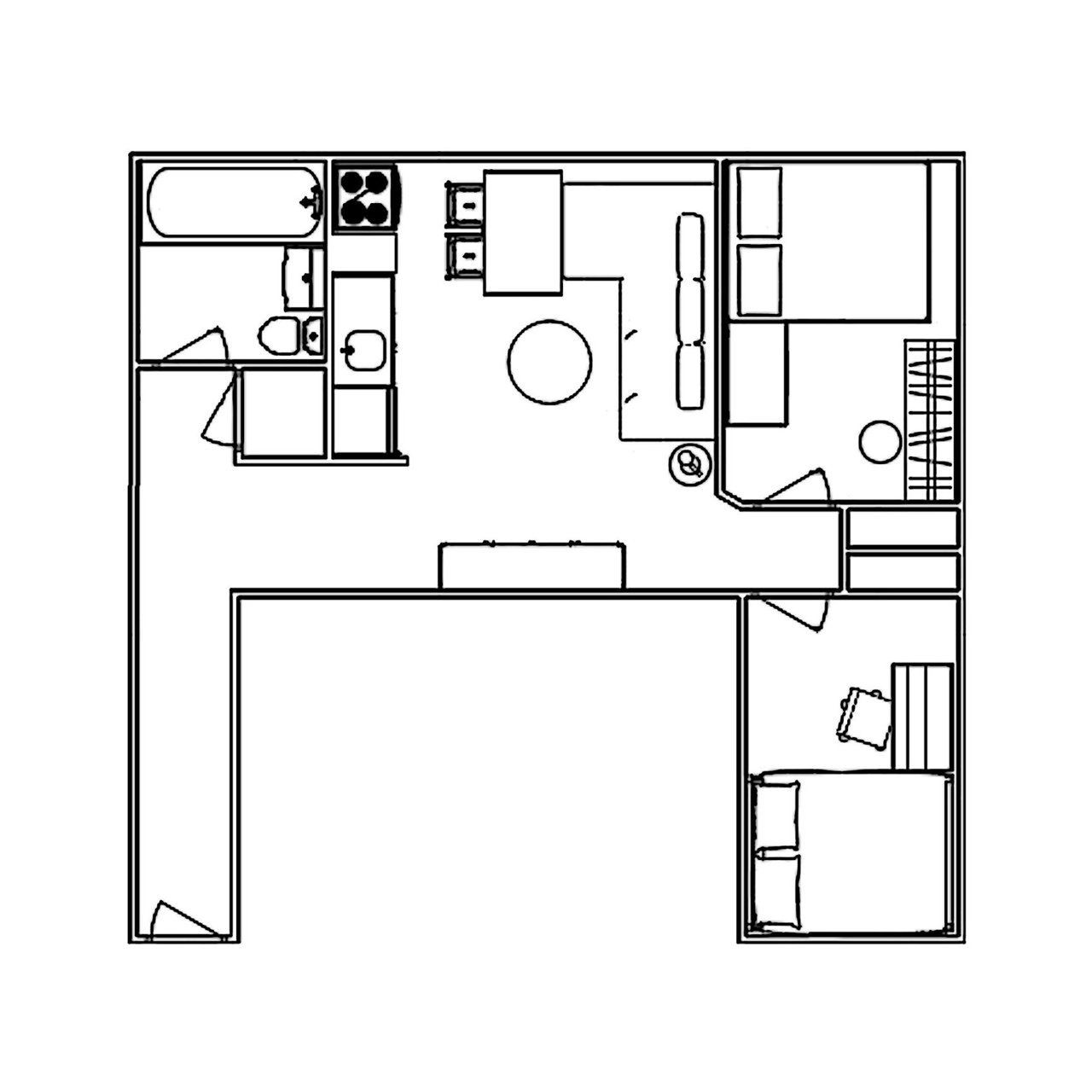 Theo's Small, Streamlined Two-Bedroom In Hell's Kitchen