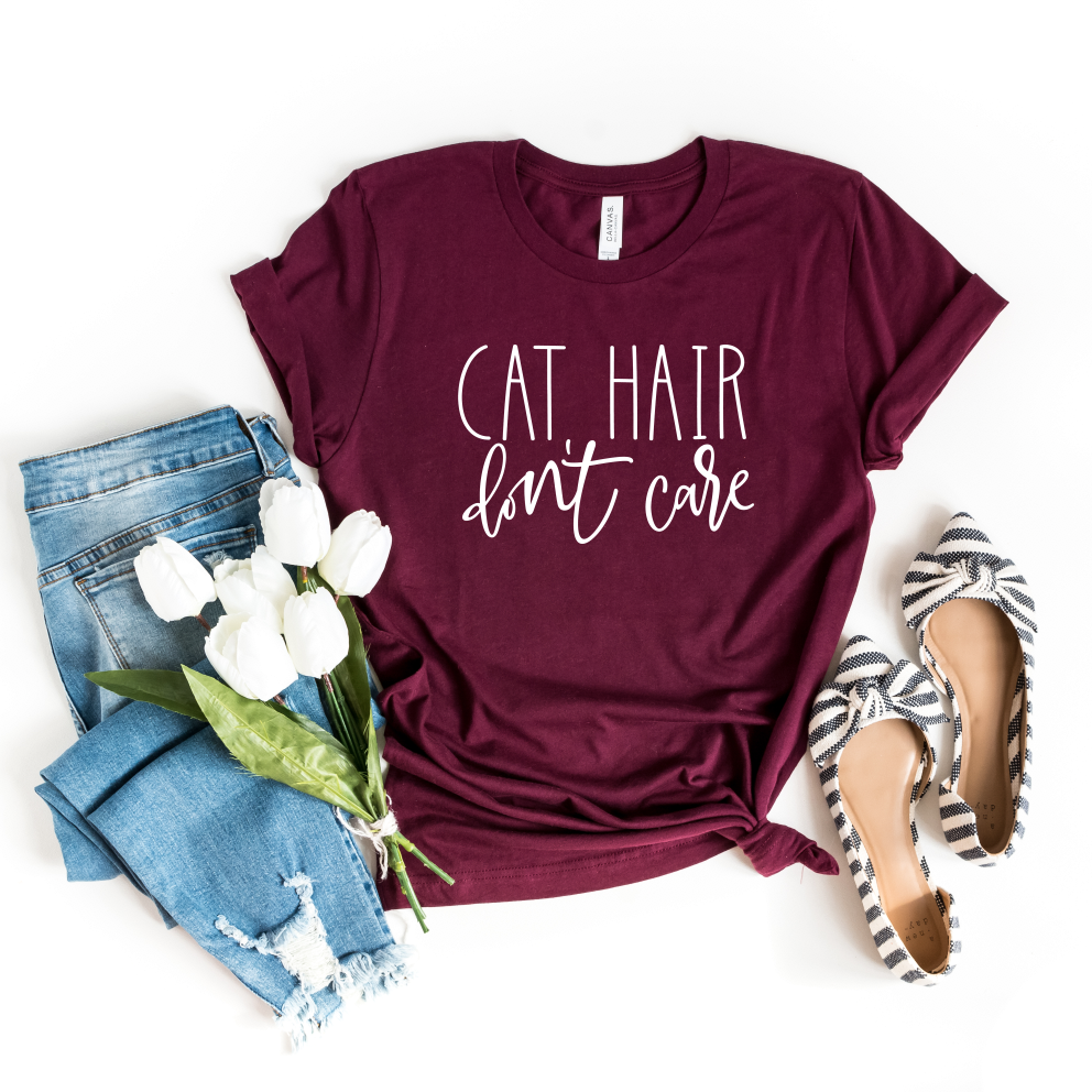 Cat Hair Don't Care Shirt, Gift for Cat Lover Graphic