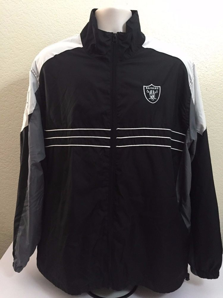 18eab0ad NFL Team Apparel Reebok Raiders Sport Men Jacket XL Black/White Full ...