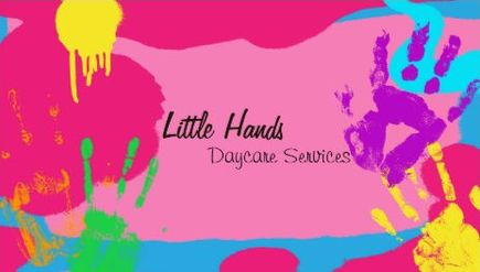 Fun rainbow finger paint hand prints daycare services business cards colourmoves