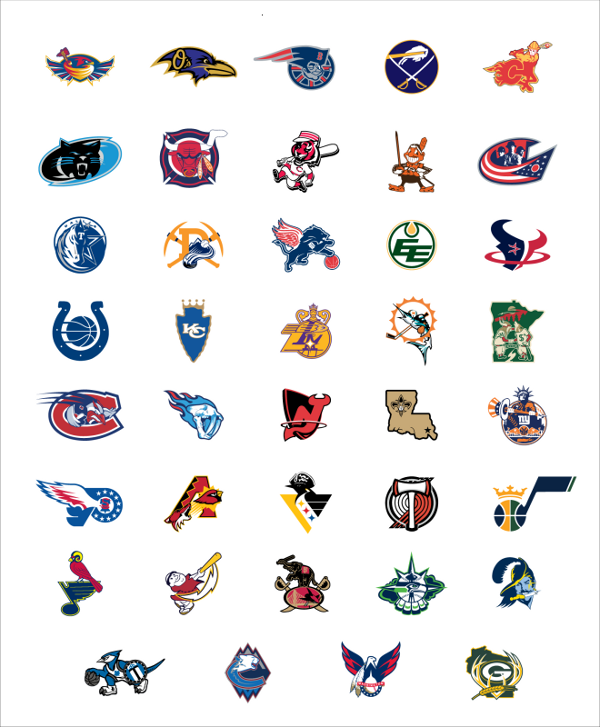 A Definitive Gallery Of Your Favorite City S Sports Team Logos Combined Sports Team Logos Sports Logo Nba Logo