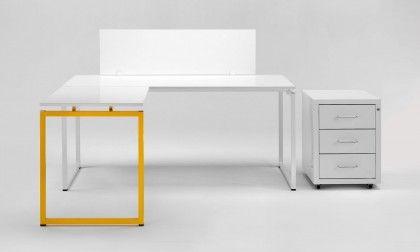 Scrivania ufficio angolare di design gialla Quadrotto QS | angolo ...