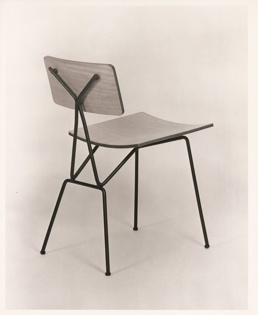 Tony Paul Enameled Metal And Laminated Plywood Chair 1950s