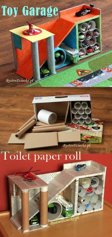 Autogarage aus Toilettenpapier und Pappkartons #toiletpaperrolldecor