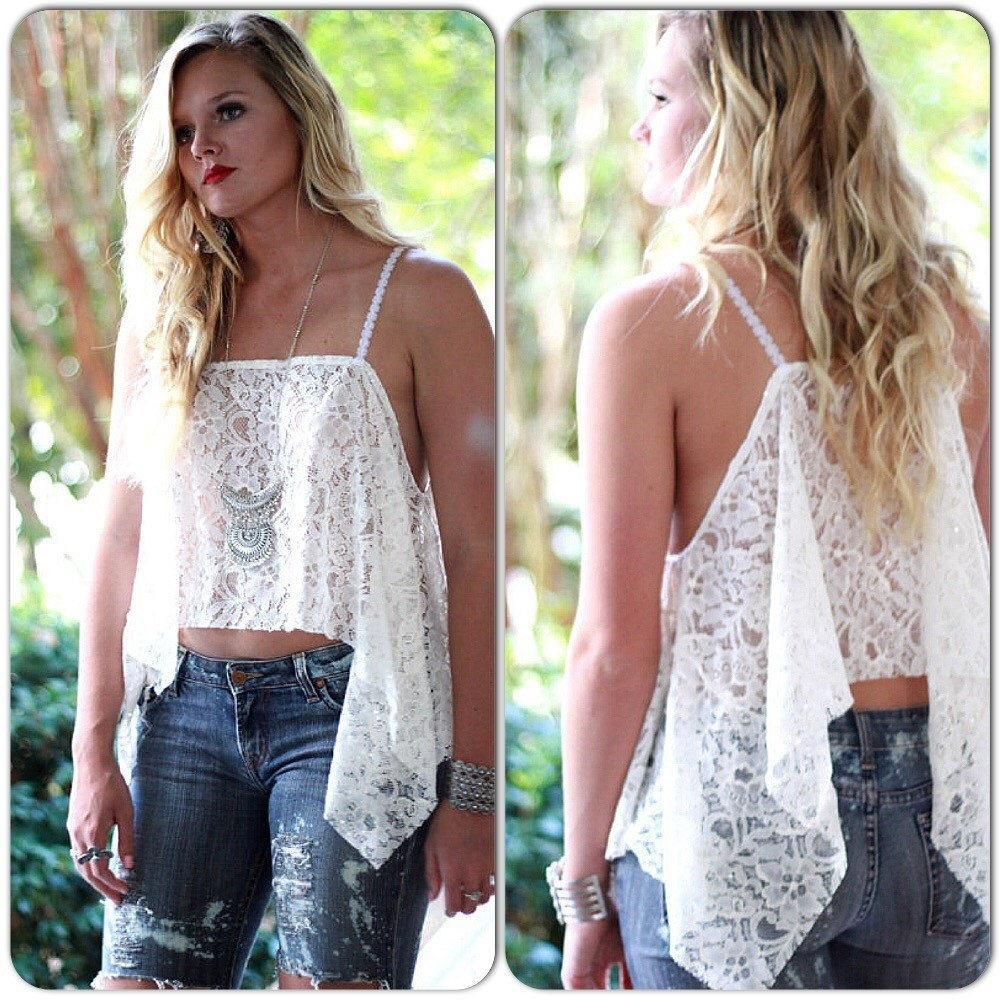 For fall Love Lemons style creme lace crop top, angel wing beach lace cami, festival clothing for fall, boho chic, True rebel clothing Sm is part of Clothes Boho Fall - For fall Love Lemons style creme lace crop top, angel wing beach lace cami, festival clothing for fall, boho chic, True rebel clothing Sm New for fall the gorgeous lace angel wing crop top, ultra romantic and a must have for layering with your fall flannels and cardis  The design is ours and an original, so remember where you all saw it first   Our model Ashlie is wearing this piece with booties, with our new 90's Cobain jean, and loads of jewelry  All can be found here This is a size small, fits a 0 through 4 with ease and comfort  Please convo with any questions or concerns  As always Peace and Love Music Festival and Country chic items to you guys all with a little True Rebel Clothing vibe  Each and every one of out pieces is hand altered or handmade unless vintage and then sometime those will get a little lift as well  My Bohemian Gypsy Influence come from my style icon Stevie Nicks  I have been designing with her in mind since I was little  The Bohemian or boho chic style is s little bt of gypsy mixed with easy to wear beach bohemian  I love to use all natural cottons, vintage laces and tapestries  My family and I travel to find treasures and fabrics to turn into one of a kind Bohemian gypsy vintage pieces or fabrics we ca turn into those Since my newest love, with Music festival style I have been looking for and loving vintage pieces I can give a little lift to, I will also be introducing some new Boho music festival boyfriend shorts and Coachella crop tops as well  Please remember that each piece is altered, handmade, or hand dyed and that there might be little dye variations or raw edges, this gives charm to each piece and you will know you are not buying mass produced but something made with love and many hours of treasure hunting  Thanks so much for shopping with True Rebel Clothing ~ We lo