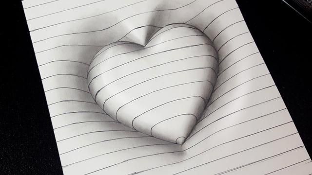 Easy Drawing How To Draw 3d Heart With Lines 3d Trick Art For