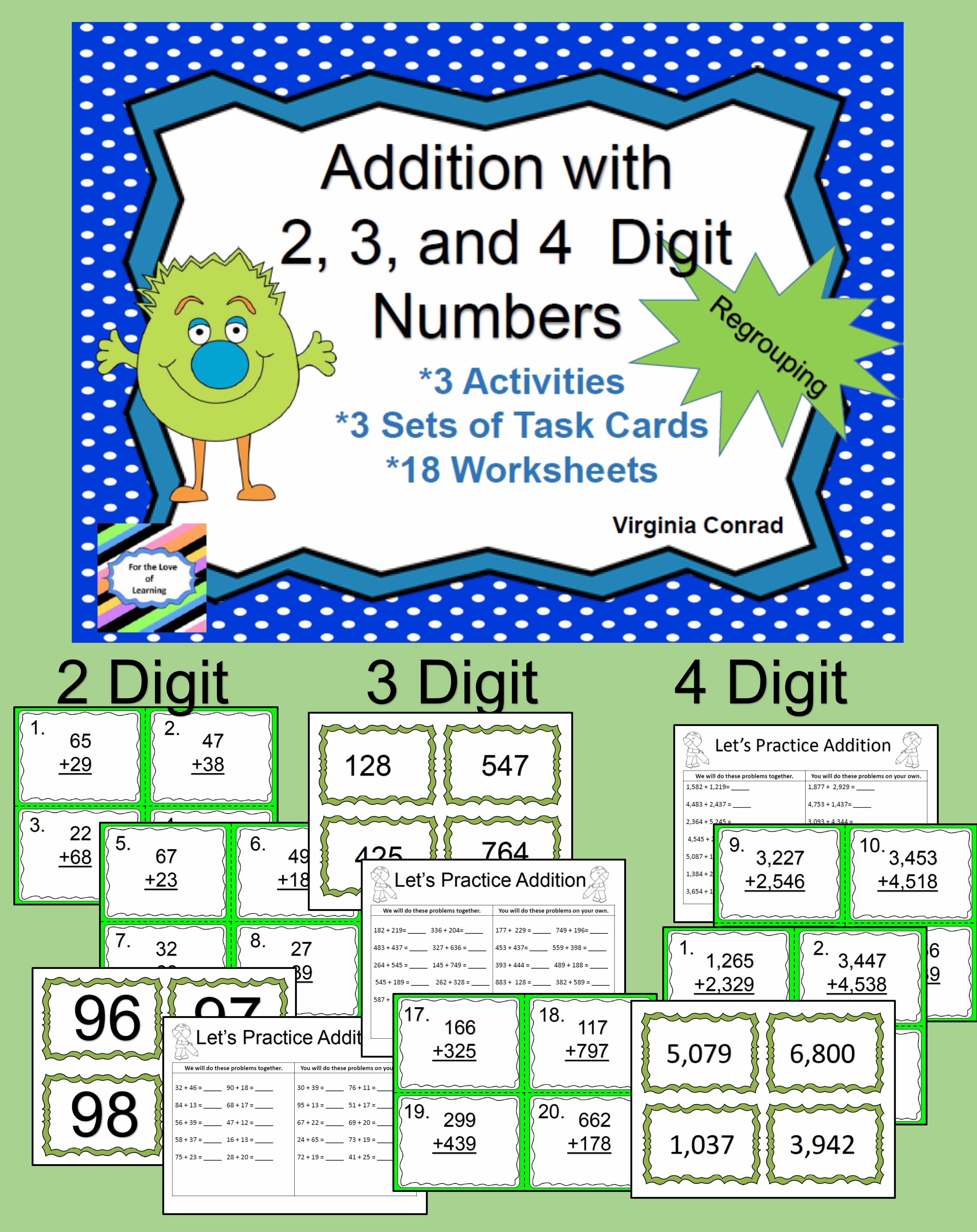 Predownload: 3 Whole Group Activities 3 Sets Of Task Cards 18 Worksheets All Focused On Regrouping With 2 3 And 4 Dig Math Learning Center Math Task Cards Balanced Math [ 5376 x 4262 Pixel ]