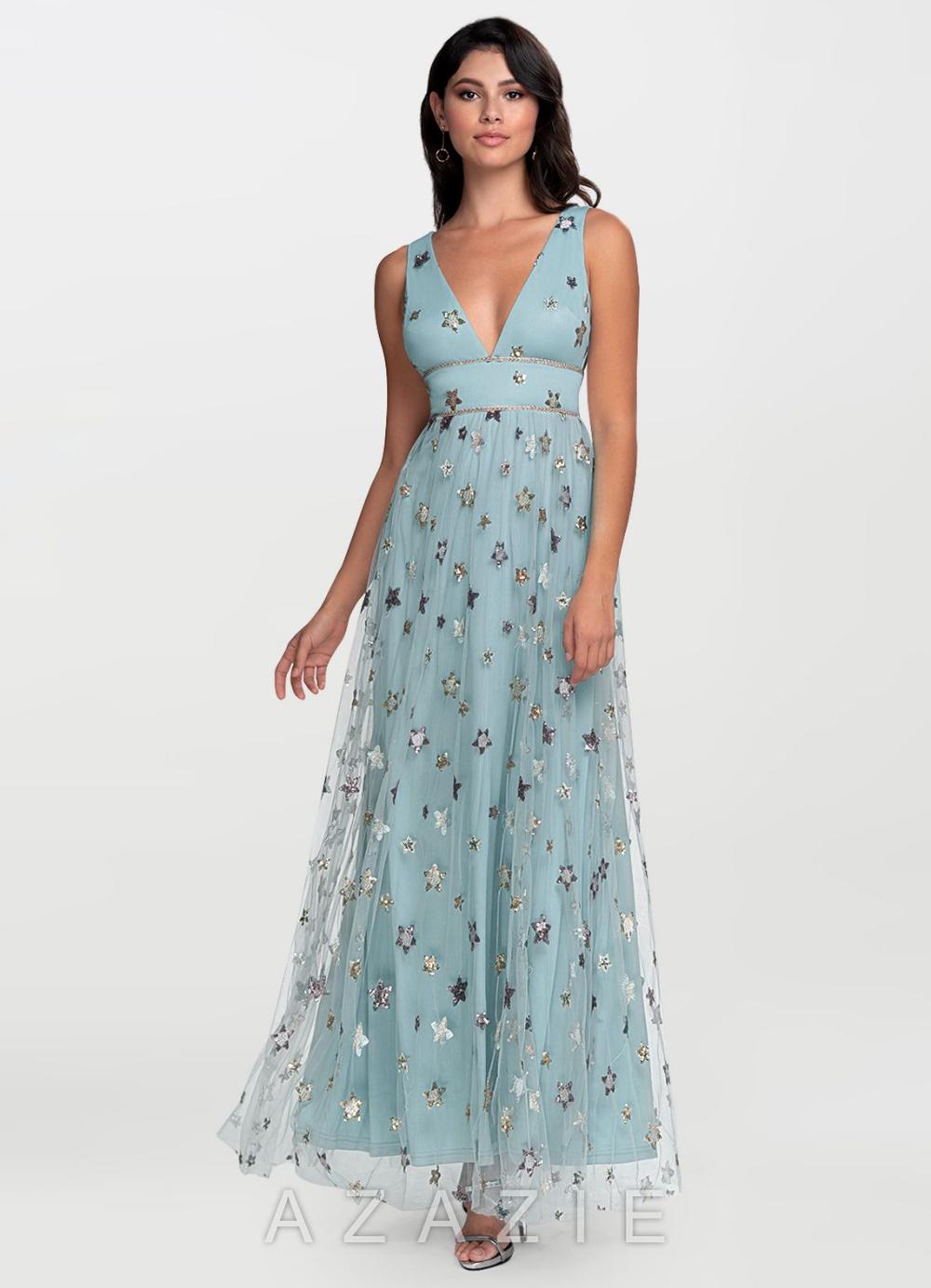 Kiss Of Stars Slate Blue Embroidery Maxi Dress Wedding Guest Dress Azazie Dresses Dresses [ 1384 x 1000 Pixel ]