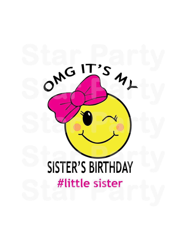Instant Download Emoji Emoticon Sister Party Birthday T