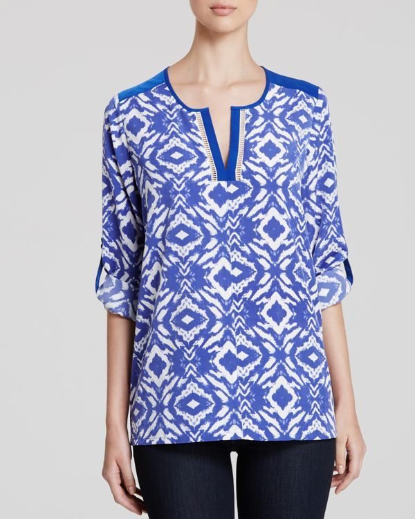 Nydj Batik Print Roll Sleeve Top
