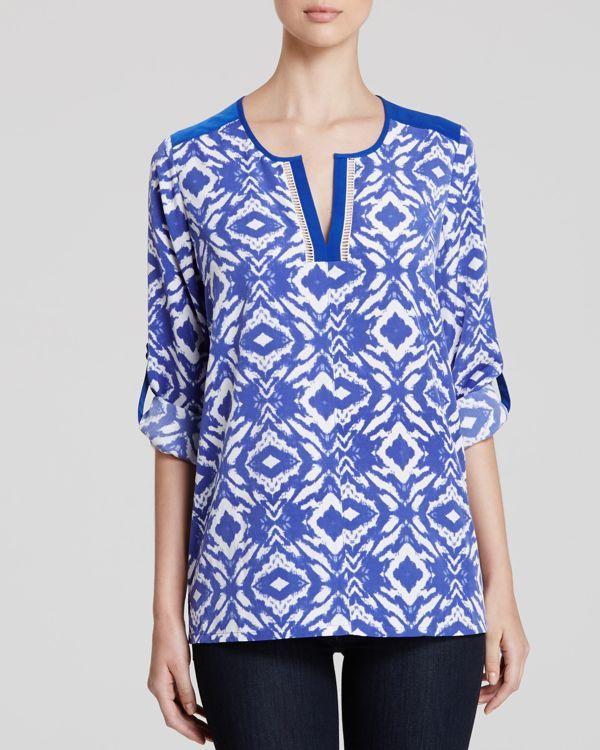 Nydj Batik Print Roll Sleeve Top