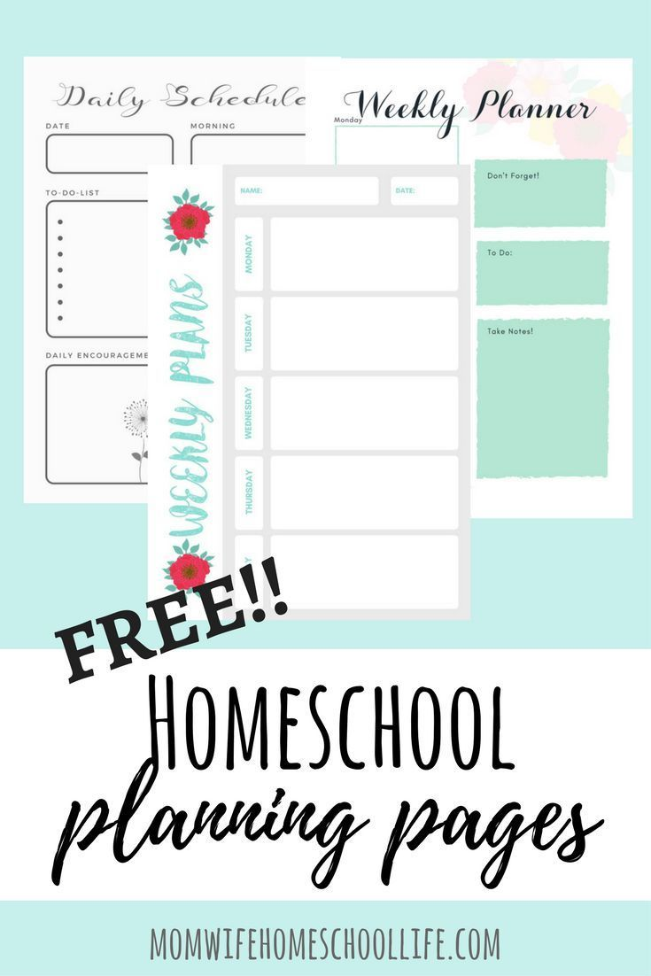 Free homeschool planning pages, weekly planners and daily