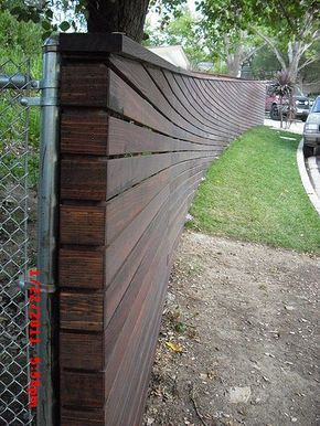 sloped top bottom curved horizontal fence backyard on modern fence ideas highlighting your house with most shared privacy fence designs id=35962