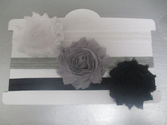 Set of 3 Shabby Headbands Black White and by TutuCuteBowtiqueFL