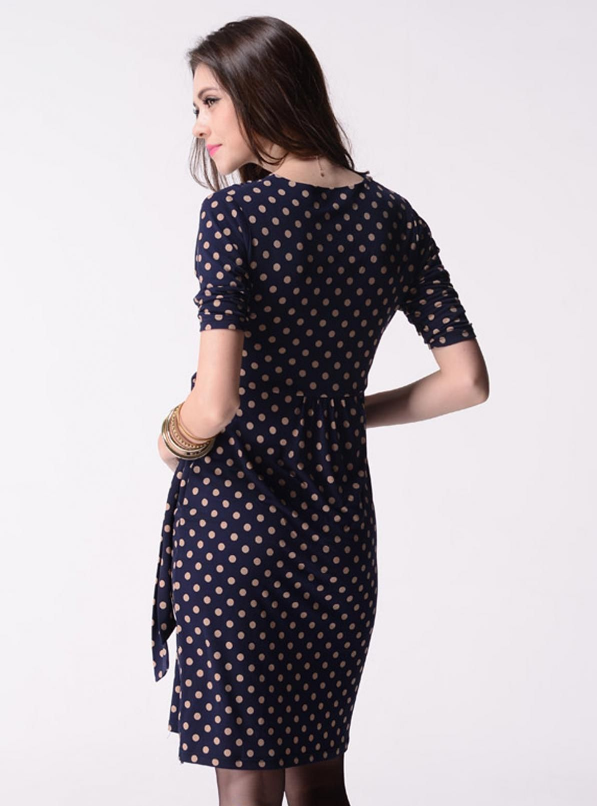 Maternity u nursing sleeve wrap dress in polka dot small only