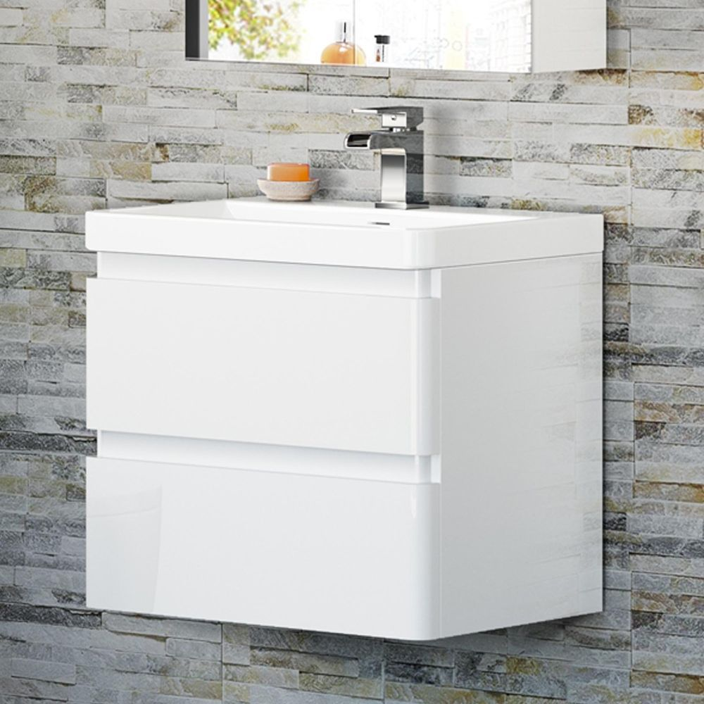 Modern Bathroom Vanity Unit Basin Sink Unit 2 Drawer Storage Cabinet ...