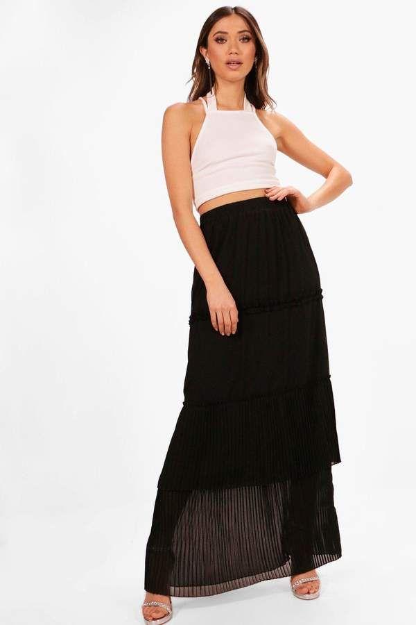 120a2e0b5 boohoo Amanda Pleated & Tiered Chiffon Maxi Skirt | Products ...