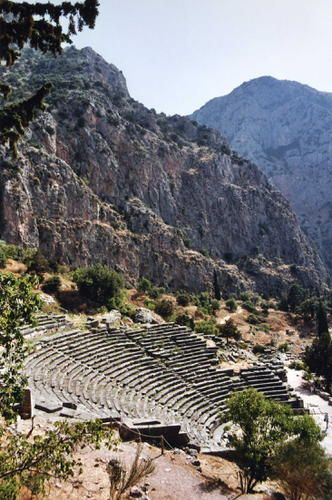ARCHAEOLOGICAL SITE OF DELPHI, GREECE.