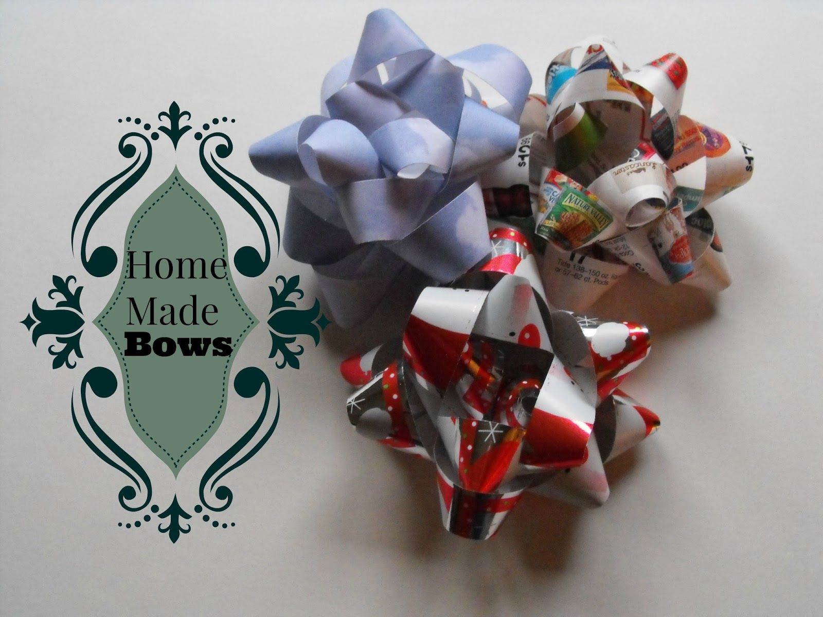 make your own bows from recycled papers or wrapping paper smile for