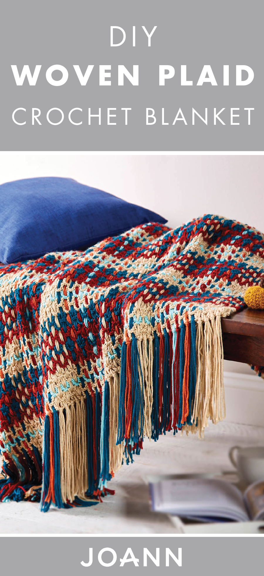 Love the look of this DIY Woven Plaid Crochet Blanket? Check