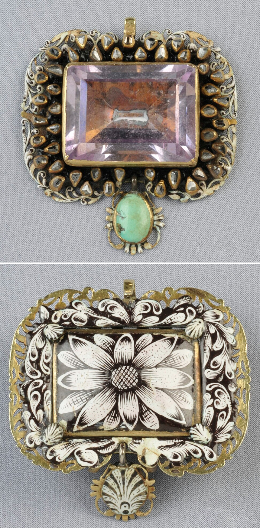 Antique Gold Gem-set Pendant, probably Portugal, set with a large purple foil-back faceted rock crystal framed by diamonds and suspending a turquoise drop, the reverse with fine en grisaille counter-enamel, lg. 1 3/4 in. Renaissance or Renaissance style.