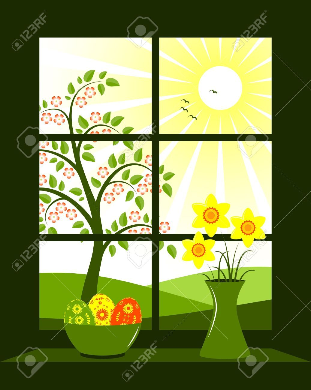 Easter Eggs In Bowl And Bunch Of Daffodils In Vase At Window Royalty Free Cliparts, Vectors, And Stock Illustration. Pic 8976472.
