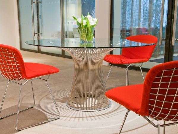 Esszimmer Möbel Esszimmertisch Rund Glasplatte Tisch