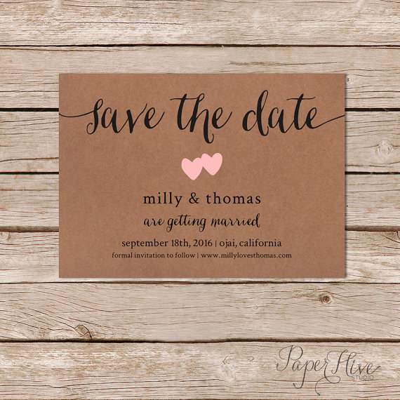 Kraft Paper Save the Date Cards Wedding Announcement Rustic Calligraphy Save the Date Save the Date Cards Digital Custom Save the Date