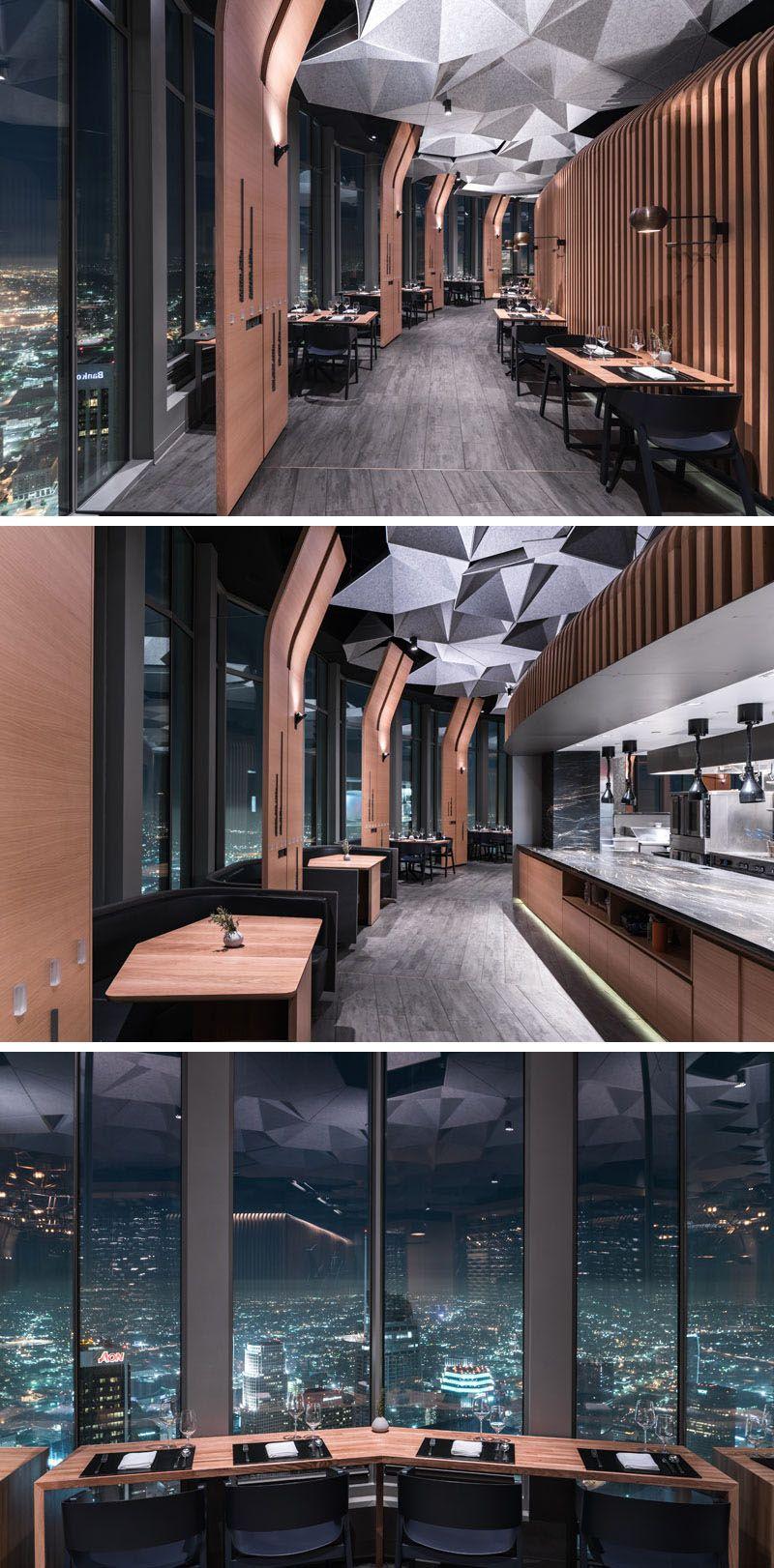 Hexagonally Shaped Ceiling Coffers Help Dampen Sound In This Restaurant Restaurant Interior Design Modern Restaurant Modern Ic Dekorasyon