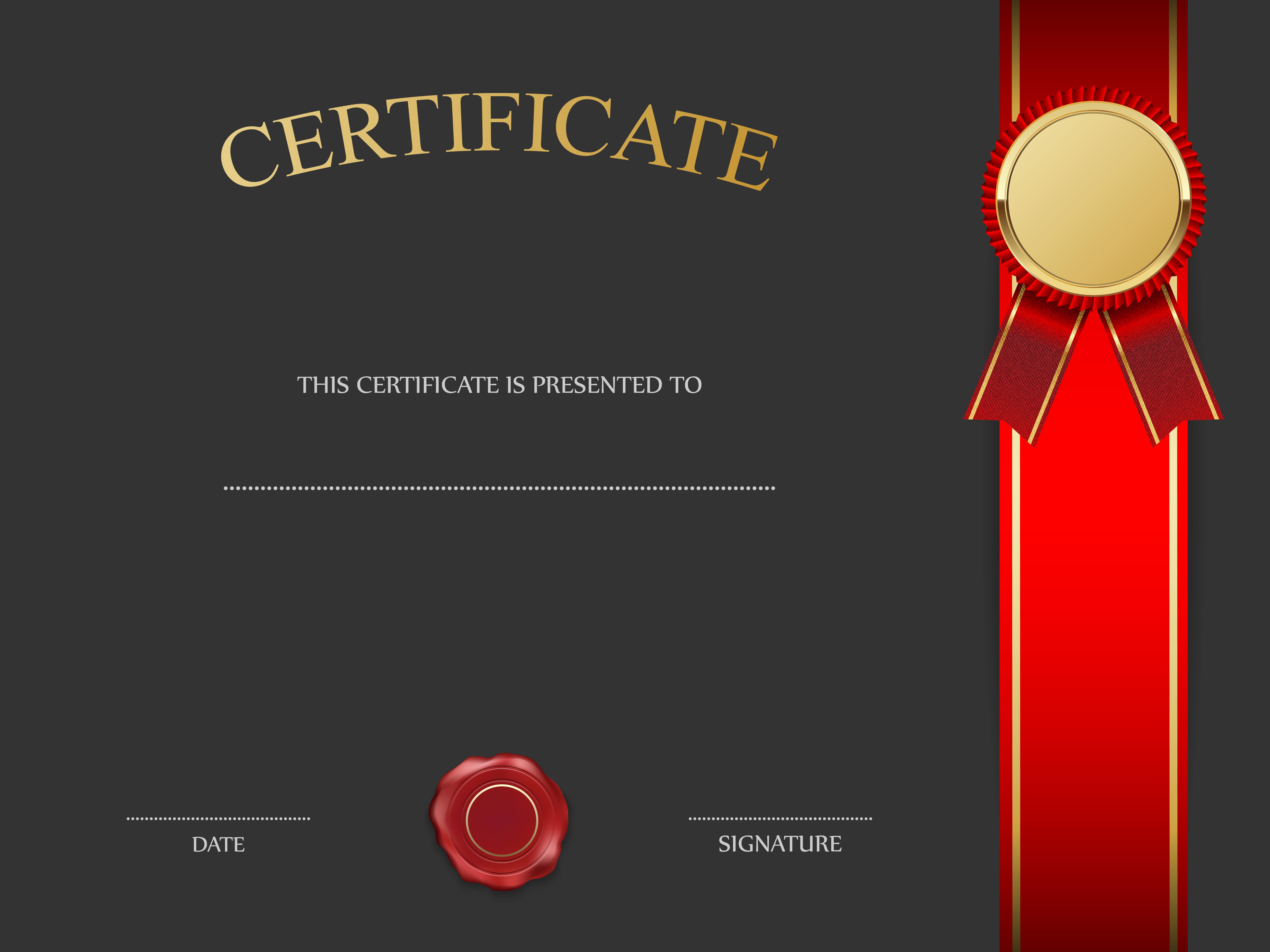 Black Certificate Template With Red Png Image Sertifikat Penghargaan Kartu Nama Desain Pamflet