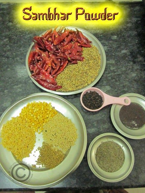 HOMEMADE SAMBHAR POWDER I HOW TO MAKE SAMBHAR PODI AT HOME I SAMBHAR POWDER RECIPE